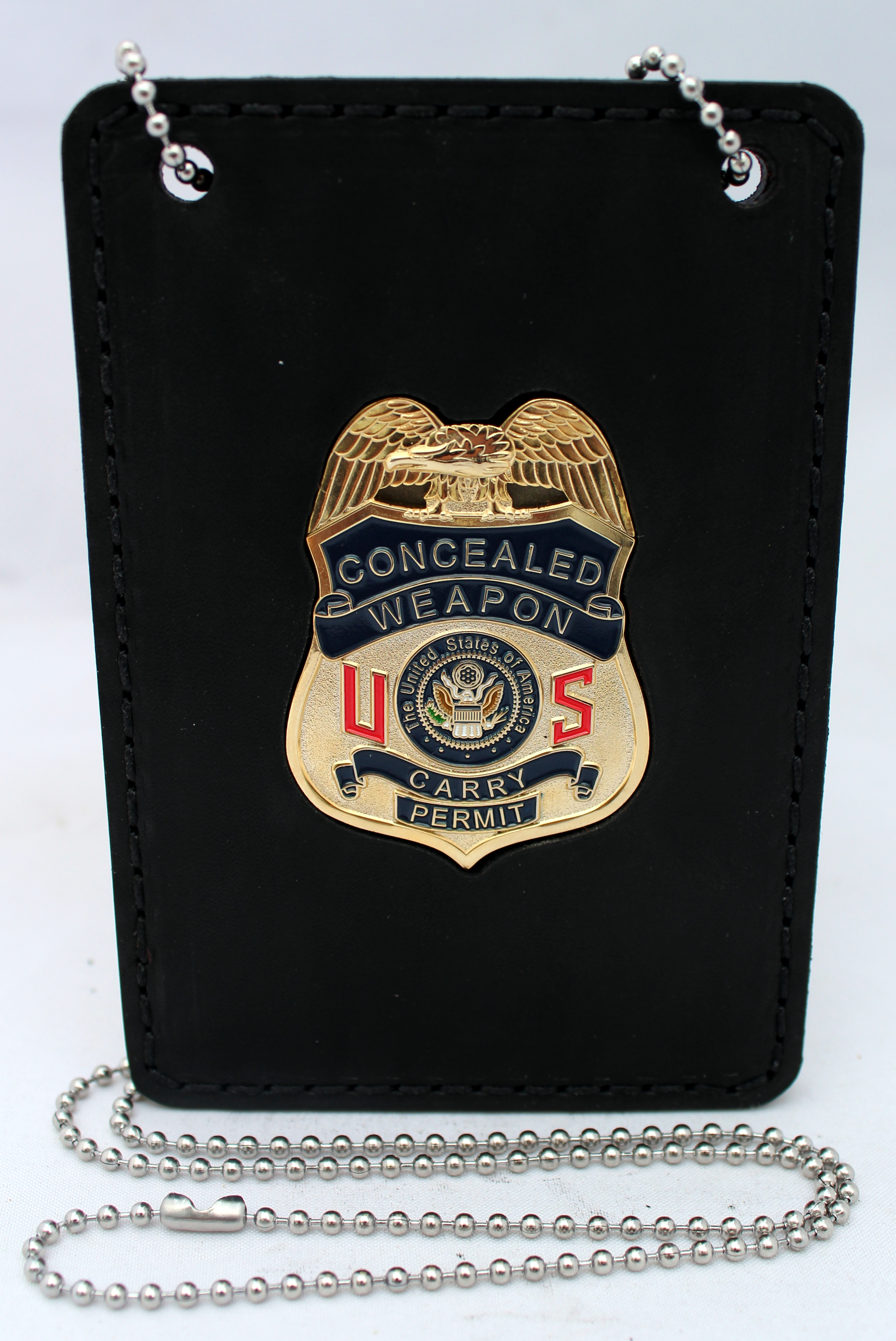 US Conceal Carry Weapon CCW Black Leather Badge with Neckchain