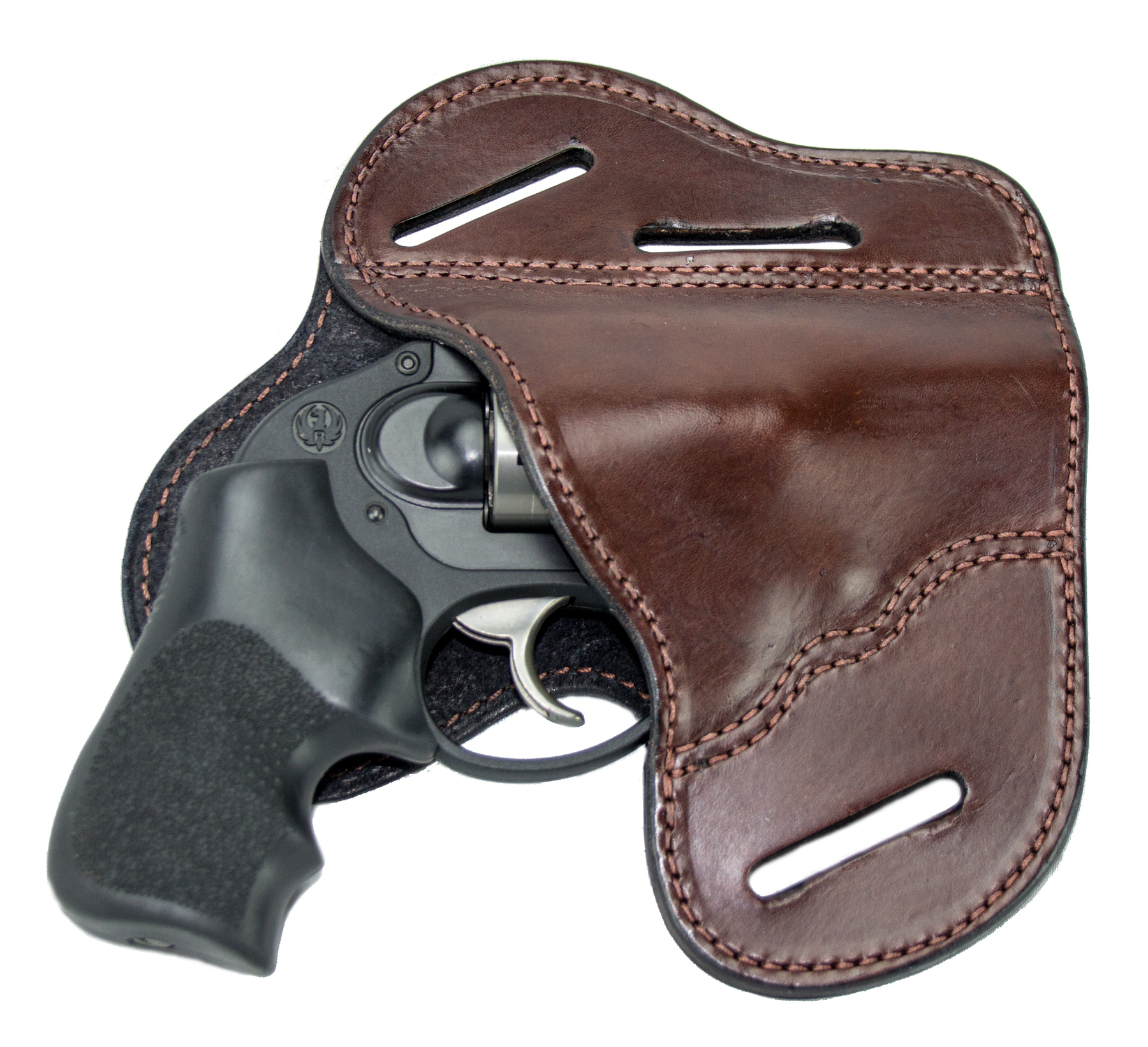 The Ultimate Leather Gun Holster - BROWN 3 Slot Pancake Style Belt Holster Fits J Frame / Revolver Style Handguns