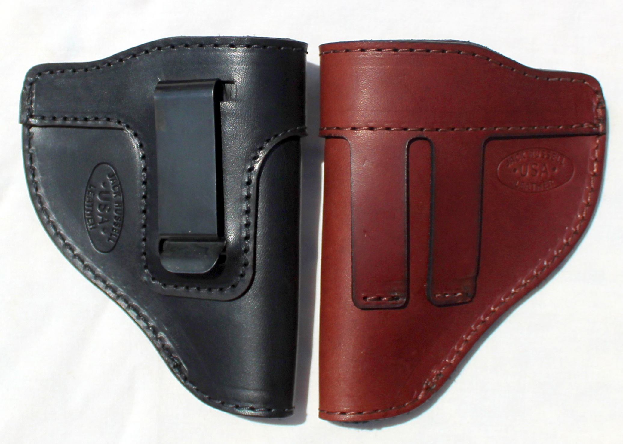 The Defender Leather IWB Holster - Fits Most J Frame Revolvers Incl. Ruger LCR, S&W 442/642, Taurus, Charter & Most .38 Special Revolvers - Made in USA - BLACK