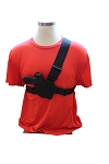 The NEW JRT TACTILE Chest Holster for Midsize Guns Black Leather Black Straps