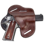 The Ultimate Leather Gun Holster - BROWN 3 Slot Pancake Style Belt Holster Fits 1911 Style Handguns