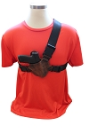 The NEW JRT TACTILE Chest Holster for Midsize Guns Distressed Brown Leather with Black Straps