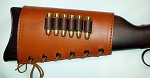 Leather Rifle Buttstock Ammo Bandolier w/6 Pocket 38/357 OR 45