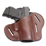 The Ultimate Leather Gun Holster - BROWN 3 Slot Pancake Style Belt Holster Fits Glock / XD Style Handguns