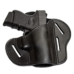 The Ultimate Leather Gun Holster - BLACK 3 Slot Pancake Style Belt Holster Fits Glock / XD Style Handguns