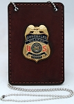 US Conceal Carry Weapon CCW Havana Brown Leather Badge with Neckchain