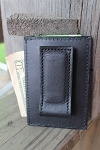 Men's Black or Brown Leather Wallet with Magnetic Clip