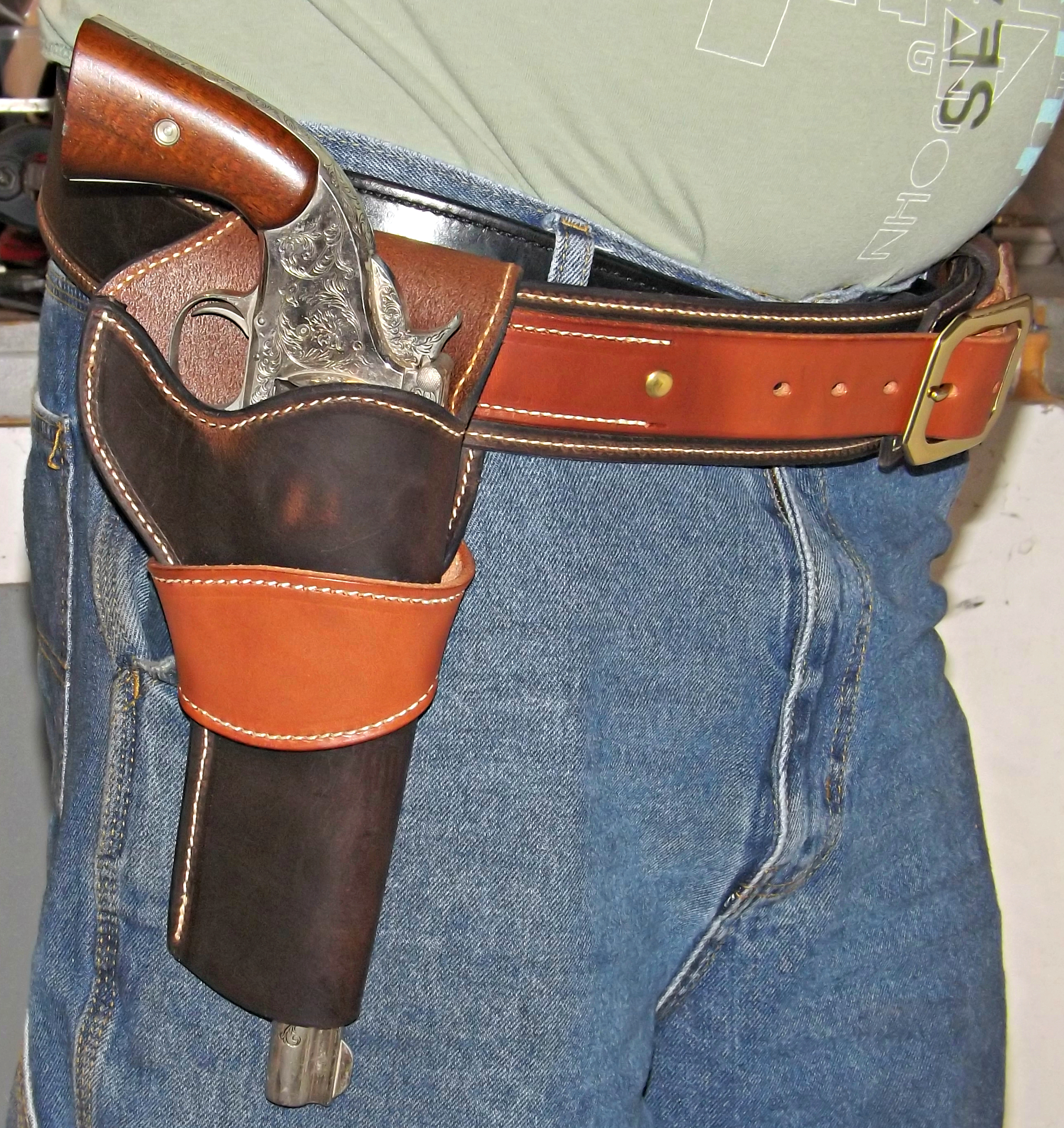 Western Holster Matches the New Western Premium Full Grain Leather Belt with Cartridge Loops Dark Brown and Chestnut Combo