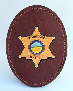 """YOUR STATE"" Sheriff's Leather Badge with Clip"