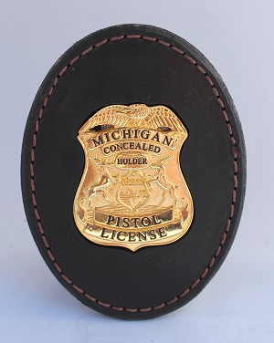 MICHIGAN Conceal Carry Weapon CCW Leather Badge with Clip
